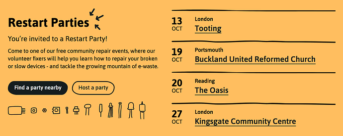 Upcoming parties on the homepage