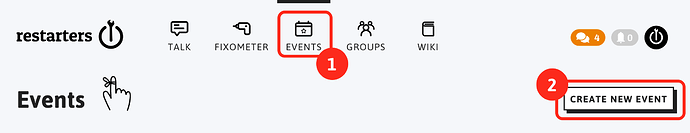 Create new event: 1. click on the events tab at the top. 2. click on the 'add new event' button on the right